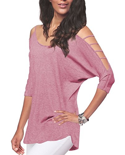 iGENJUN Women's Casual Loose Hollowed Out Shoulder Three Quarter Sleeve Shirts,XL,Dusty Pink