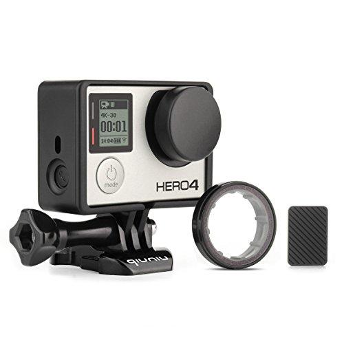 Frame Mount Housing Case for GoPro Hero 4 3 3+ Action Camera - Frame Housing Case with Basic Buckle, Long Thumb Bolt Screw, UV Protective Lens, Lens Cap, and Side Door Cover - Black (Gopro Hero 4 Lens Cover)