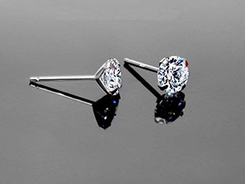 Gowe véritable 18K Or Blanc solide Charles Boucles d'oreille à tige pour femme fiançailles rond brillant 0,60CT/Paire Vvs G-H