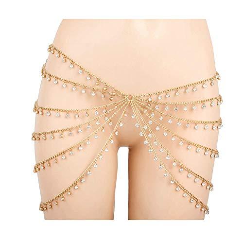MineSign Vintage Waist Chain Womens Body Chain Jewelry Dancer Boho Indian Waist Belly Chains for Halloween Party Wedding Summer Beach Accessory (Drop Rhinestone Gold -