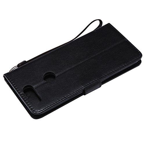 Oneplus 5T Flip Cuero Funda - Alta Calidad Cuero de la PU /Stent/Billetera/Paquete de Tarjetas/Proteccion Caso Cubrir para Oneplus 5T(Rosa) Negro