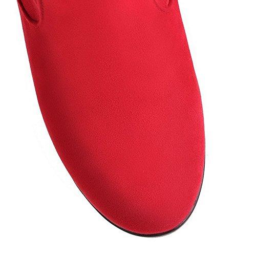 AllhqFashion Mujeres Esmerilado Sin cordones Puntera Redonda Tacón Alto Caña Alta Botas Rojo