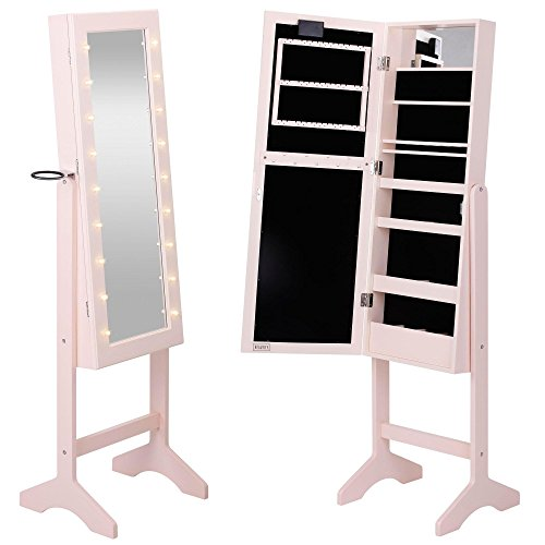 Beautify Mirrored Jewelry Armoire Lights