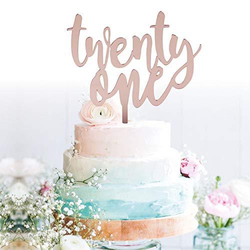 GrantParty Twenty-one Rose Gold Cake Topper |21st Birthday Anniversary Wedding Party Decoration Ideas| Perfect Keepsake (21 Rose
