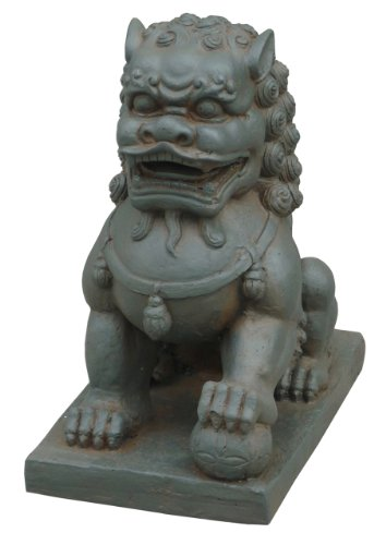 Hi-Line Gift Ltd Foo Dog-Left Paw on Ball Statues, Clay Fibre Brown