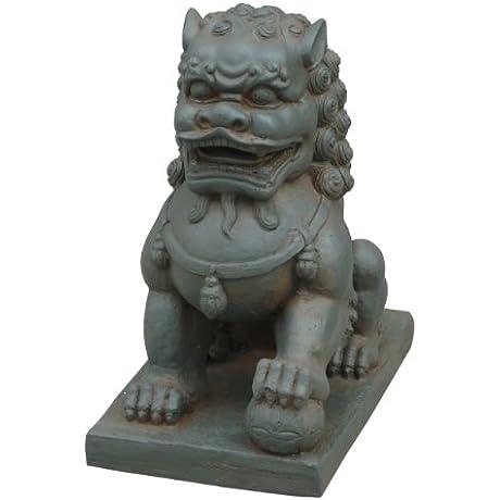 Hi Line Gift Ltd Foo Dog Left Paw On Ball Statues Clay Fibre Brown
