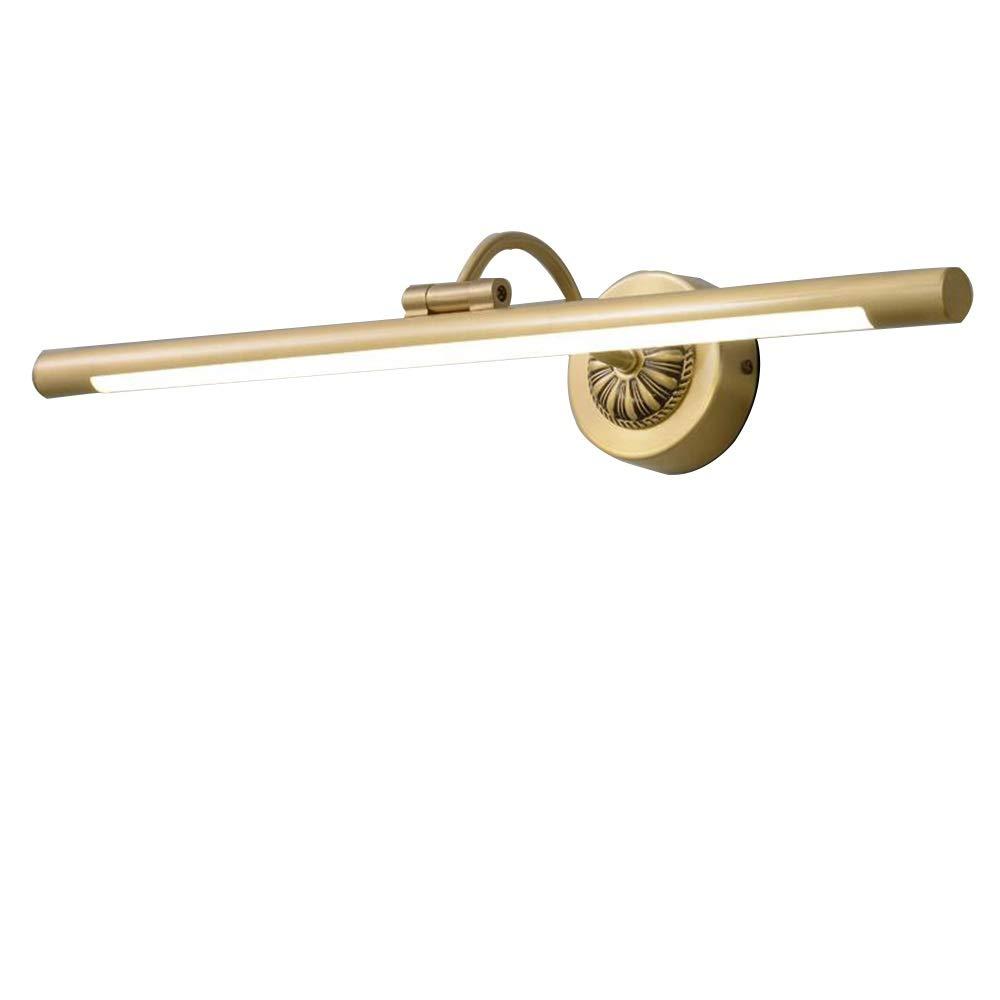 OUPAI Bathroom Mirror Light LED Bathroom Vanity Light, All Copper Lamp with Swivel Lamp Head, Versatile Plug-n-Play 4000K Warm White, Straight Arm, Brass Finish Picture Light Led Vanity Light