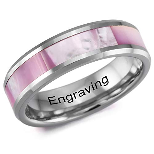 MeMeDIY Pink Silver Tone Tungsten Mother of Pearl Abalone Shell Ring 6 - Customized Engraving ()