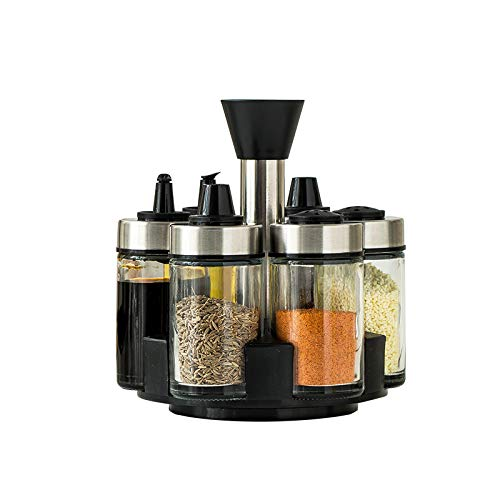 Rotating Seasoning Box Set Pepper Sugar Oil Pepper Sauce Vinegar Tank Kitchen Supplies Storage Salt Tank Glass Seasoning Bottle