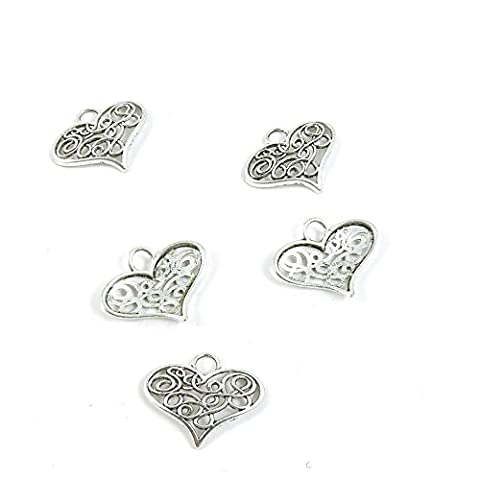 15 Pieces Antique Silver Tone Jewelry Making Charms Pendant Findings Craft Supplies Bulk Lots Arts I4KS6 Love - Heart Charm Jewelry Finding