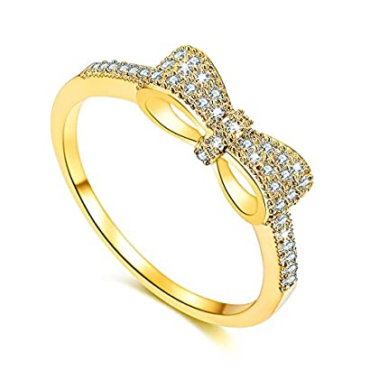 Serend 18k Gold Plated White Cubic Zirconia CZ Band Bow Ring Fashion Women Jewelry, Gifts for Annive...