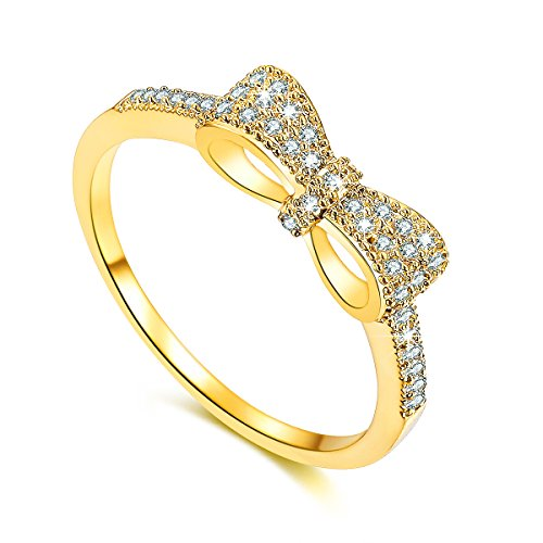 SPILOVE Serend 18k Gold Plated White Cubic Zirconia CZ Band Bow Ring, Size 6