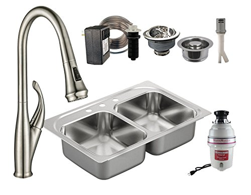 Garbage Disposal Double Sink - All-in-One Drop-In Stainless Steel 33