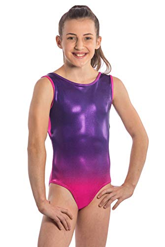 (Girls Gymnastics Leotard Ombre Mesh Leotard in Girls and Adult Sizes by Lizatards Adult M Pink/Purple)