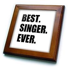 ft_185016_1 InspirationzStore Typography - Best Singer Ever, fun gift for singing appreciation, black text - Framed Tiles - 8x8 Framed Tile