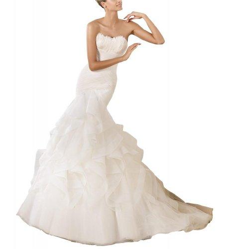 BRIDE Organza Herz luxus GEOGE Ausschnitt Elfenbein Meerjungfrau Brautkleid OwIgUqdU