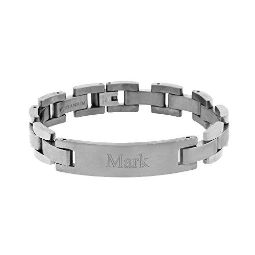 Eve's Addiction Mens 12mm Titanium ID Bracelet