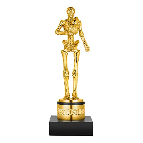 Party Place Costumes (Toyvian Halloween Best Costume Skeleton Trophy for Halloween Skull Party Favor Prizes, Gold Bones Game Awards, Costume Contest Event Trophy, Treats for Kids, Goodie Bag)