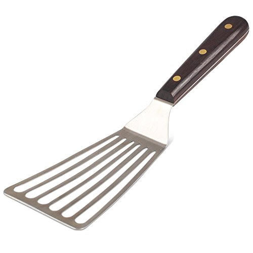 Deglon Offset Spatula - Deglon Offset Slotted Spatula with Rosewood Handle- 6.5 inch Blade