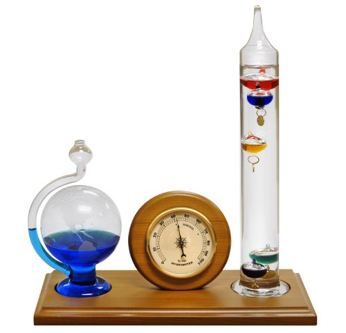 Lily's Home Analog Weather Station, with Galileo Thermometer, Glass Barometer, and Analog Hygrometer, 5 Multi-Colored Spheres (10.5 in x 12 in) (Clock Glass Regulator)