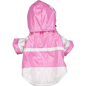 Two-Tone Pvc Waterproof Adjustable Pet Raincoat, Medium, Pink & White