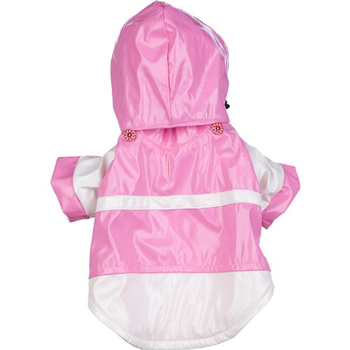 Pet Life Two-Tone' PVC Waterproof Designer Fashion Adjustable Pet Dog Coat Jacket Raincoat w/Removable Hood, Small, Pink and White by Pet Life