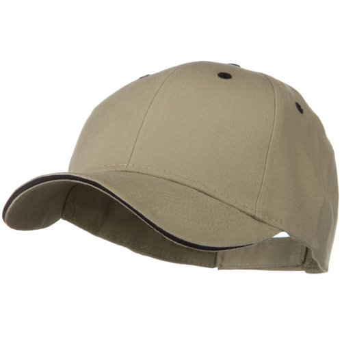 Solid Brushed Twill Sandwich Visor Cap - Khaki Black Brushed Twill Sandwich