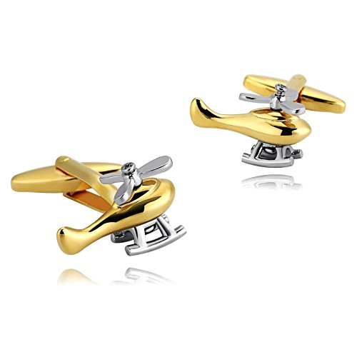 KnSam Stainless Steel Silver Gold Jewelry Helicopters Pilot Rescue Cufflinks for Mens Shirt Stud