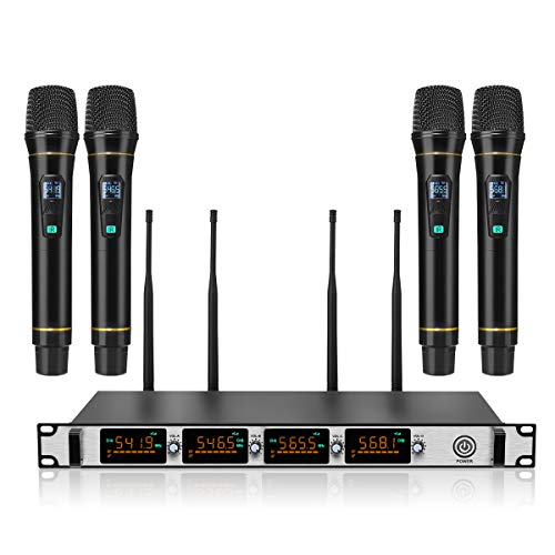 Wireless Microphone System,NASUM 4-Channel Metal UHF Wireless Microphone System,Longer Distances 98-164Ft,LCD Display Professional Home KTV Set for Party,Karaoke,Wedding,Classroom, Church