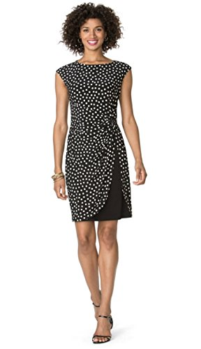 Chaps Women's Polka-Dot Tulip-Hem Dress (Black, (Chaps Womens Dress)