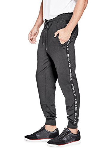 GUESS Men's Keith Taped Jogger, Jet Black a, S