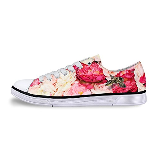 FOR U DESIGNS Pink Floral Print Lo-top Lace Up Sneaker Canvas Casual Flat Shoes US 5