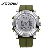 SINOBI Sport Military Rubber Digital and Quartz Men Watches, Luminous Dual Time Auto Date Women Watches