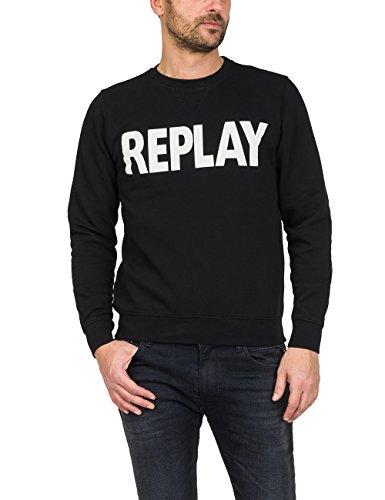 Replay shirt black Homme Sweat Noir 98 Logo zwrz8q70xZ