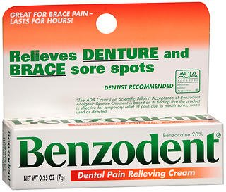 Benzodent Denture Pain Relieving Cream - 0.25 oz, Pack of 5