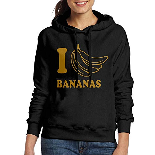 I Love Bananas Women's Cool Adult Long Sleeve Hoodie