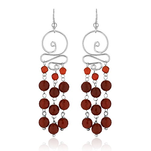 Red Carnelian Earrings (925 Sterling Silver Swirl Red Carnelian Gemstone Spheres Long Dangle Statement Earrings)