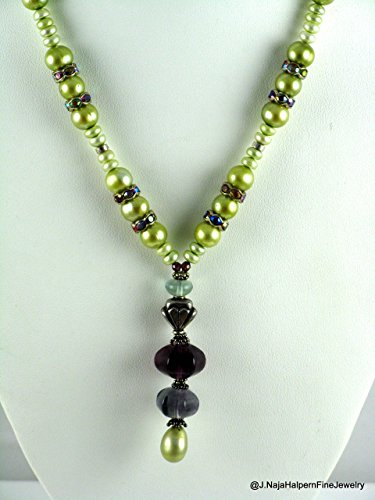 Amethyst Goddess Pendant - Natural Freshwater Pearls Lime Green Necklace with a Pearl and Gemstone Pendant in Purple Amethyst and Flourite fancy jewels, with Sterling Silver 925. PEARL and GEMSTONE NECKLACE and PENDANT,19.5''