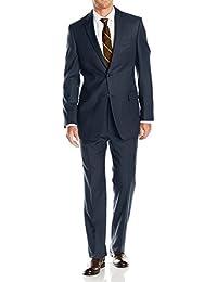 Mens Suits 2 Button Modern Fit Side Vent Narrow Stripe Suit