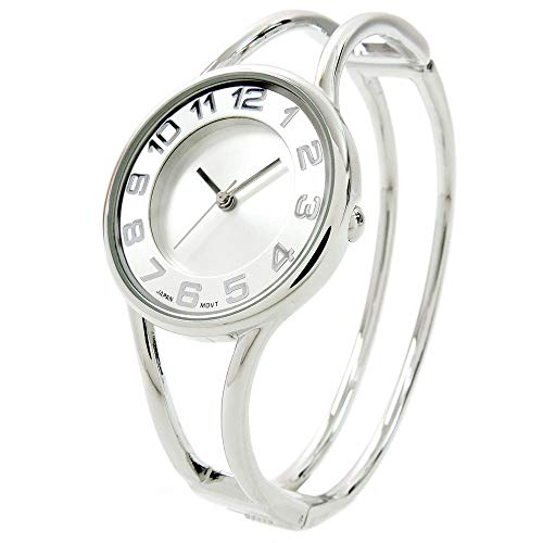 (Silver Round Face Metal Double Band Fashion Women's Bangle Cuff Watch)