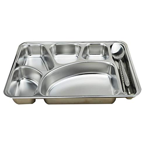 (Plate Western dish soup plate, stainless steel deepened six square kitchen tools (one plate and one spoon chopsticks))