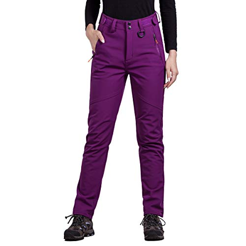 FREE SOLDIER Outdoor Women's Snow Ski Pants Soft Shell Fleece Lined Pants Water Resistant Camping Hiking Nylon Pants (Purple Red Small/US 4-6)
