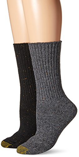 Gold Toe Wool Socks - Gold Toe Women's Crossroads Boot Crew 2 Pack, Charcoal/Black, 6-9