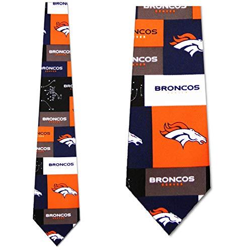 - Denver Broncos tie Mens Neck Tie Block NFL Grid