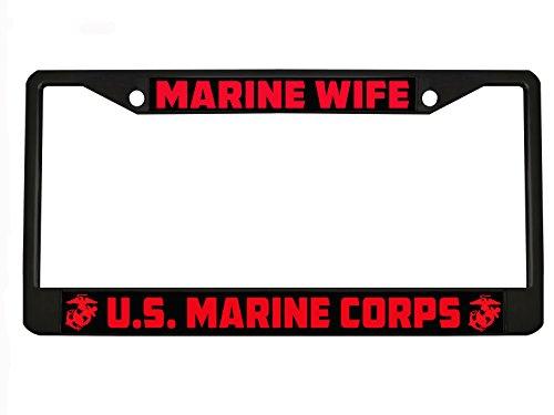 New Custom Auto Tag Marine Wife US Marine Corps Metal Heavy Duty License Plate Frame Chrome/Black (2BLACK/RED)