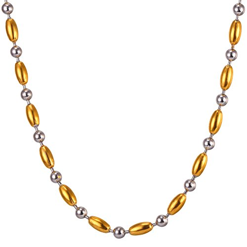 U7 Stainless Steel Gold Plated Bead Chain Necklace 5mm 20-Inch