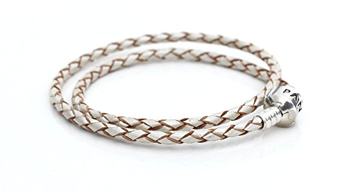 Pandora Pearl & Silver Woven Leather Bracelet 590705CPLD2