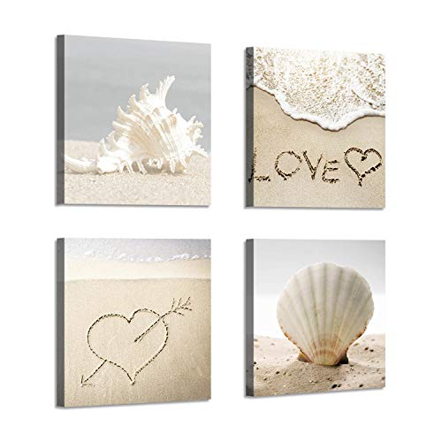 Beach Love Picture Wall Art: Conch Shells on Sand Artwork Painting Print on Canvas for Bedroom Wall Decor (12''x12''x4pcs) (Art Large Wall Beach)