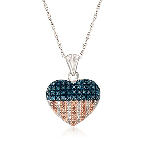 Ross-Simons 0.33 ct. t.w. Red, White and Blue Diamond American Flag Heart Pendant Necklace in Sterling (Blue Diamond Heart)