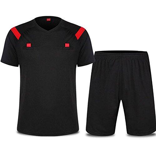 Zicac Herren Fußball-Schiedsrichter Anzug Hemd Shorts Trikot Set Kurzarm Outfit Rugby Hockey Uniform Sport Anzug Kleidung Atmungsaktiv Schnell Rocknend (Schwarz, EU L-Tag XL)
